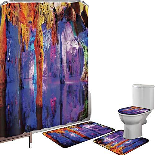 Juego de cortinas baño Accesorios baño alfombras Decoraciones de cuevas naturales Alfombrilla baño Alfombra contorno Cubierta del inodoro Formación rocosa en la costa del Algarve Paisaje marino y acan