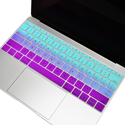 TOP CASE - Faded Ombre Series Keyboard Cover Silicone Skin Compatible with MacBook Pro 13 inch A1708 (No TouchBar) Release 2017 & 2016 / MacBook 12-inch Retina A1534 - Hot Blue/Deep Purple
