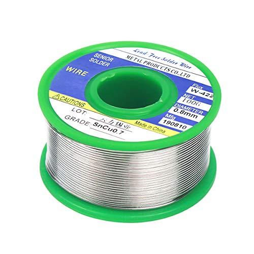 Fodlon Fil de Soudure, 0.8mm Fil à Souder Sans Plomb Sn99% Ag0.3% Cu0.7% avec Colophane Base pour Soudure Électrique 100g