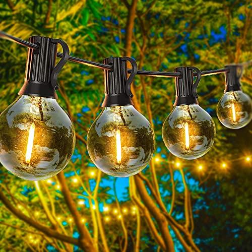 100Ft Catena Luminosa Esterno,Anting 30M Giardino Impermeabile Catene Luminose 50+2 G40 Lampadine E12(2 Lampadine di Ricambio),Decorative da Interni e Esterni per Festa Terrazza Christmas Matrimonio