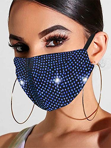 Abien Sparkly Rhinestone Mesh Mask Crystal Masquerade Face Masks Ball Party Nightclub Mouth Covering for Women and Girls (Blue)