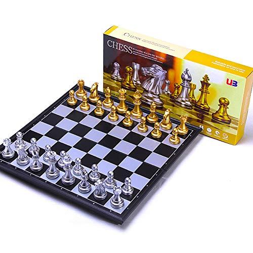 M.Q.L. Schachspiel Magnetischem Erwachsene - Einklappbar Schachbrett Schach - Lässiges Puzzle-Strategiespiel - 25x25x2cm