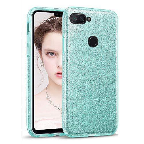 Funda Compatible con Xiaomi Mi 8 Lite Purpurina Brillante Carcasa, Transparente Cristal Resistente Silicona Gel Suave TPU + Duro PC Caso de Parachoques Telefono Movil - Verde