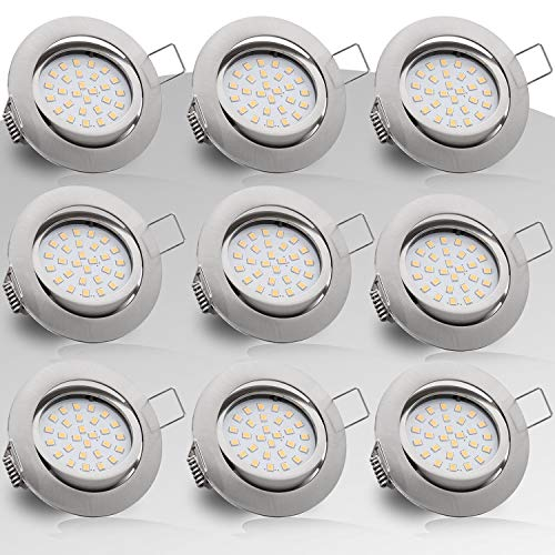 Evolution Einbaustrahler 9er Set 4W 400 Lumen in silber mit nur 25mm Einbautiefe! Deckenspot/Einbauspot mit integriertem LED Leuchtmittel AC 230V 120° Einbauspot 2700K warmweiss
