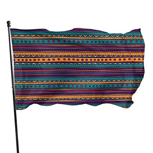 Bandera de jardín, patrón azteca a rayas con ricos colores vivos de la etnia mexicana y resistente a los rayos UV, con doble costura, para patio, bandera de temporada, banderas de pared, 150 x 90 cm