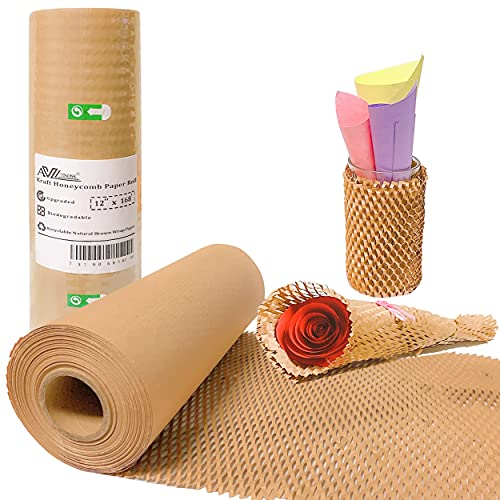 """AVITINOSK Honeycomb Cushioning Packing Paper, 12""""x 168' Upgrade Moving Protective Packaging Roll, Eco-Friendly Biodegradable & Recyclable Alternative to Bubble Cushioning Wrap for Packing & Storing"""