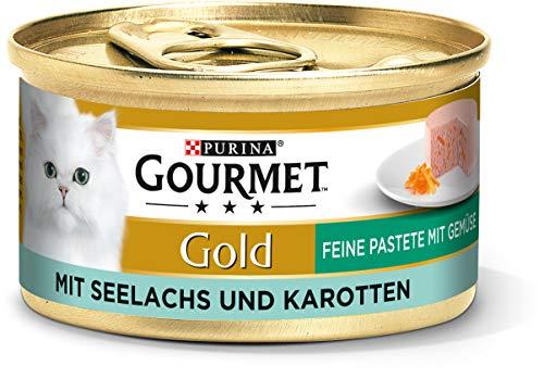 PURINA GOURMET Gold Feine Pastete mit Gemüse Katzenfutter nass, mit Seelachs und Karotten, 12er Pack (12 x 85g)