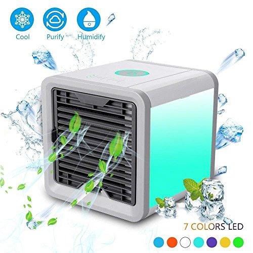 Raffreddatore Ad Aria Portatile, Condizionatore D'aria Desktop Di Ricarica Usb,Umidificatore D'aria Con Purificatore D'aria A 7 Colori, Ventilatore Freddo Domestico Compatto Per Interni / Esterni