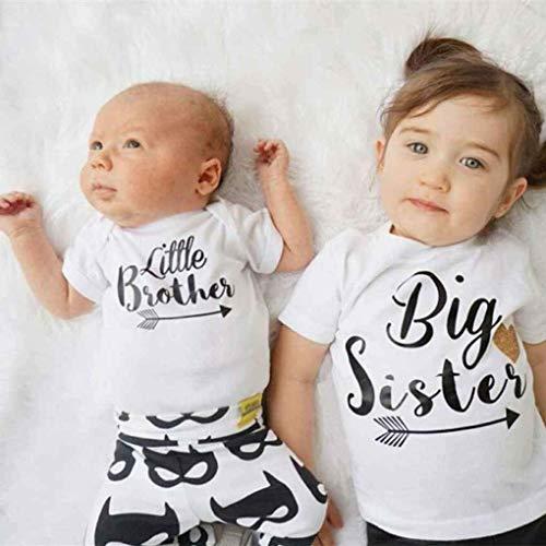 Küchenks Little Sister Big Brother Trajes a Juego de la Familia Little Sister Romper Big Brother Tops Estampados Trajes de algodón algodón