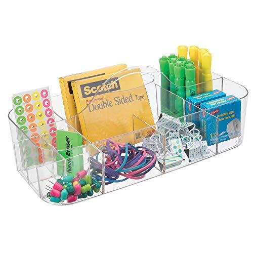 mDesign Organizador de escritorio transportable – Caja organizadora para material de oficina: clips, tijeras, lápices, gomas – Grande/transparente