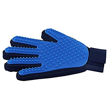 Pet Hair Remover Glove - Gentle Pet Grooming Glove Brush - Deshedding Glove - Massage Mitt with Enhanced Five Finger Design - Perfect for Dogs & Cats with Long & Short Fur - 1 Pack  Right-Hand  Blue