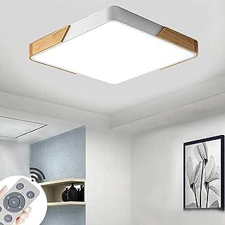 CASNIK 60W Plafonnier de LED,Bois Moderne LED Plafonnier Luminaire Intérieur Dimmable Lampe de Plafond pour salon, Cuisin...