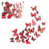 Fine 24 PCS 3D Butterfly Wall Stickers, Crafts Butterflies DIY Art Decor Home Room Decorations, Removable DIY Home Decorations (Red)