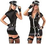 MEIGUI Ropa Sexual Mujer Sexy Disfraz de Policía de Halloween Mujer Policía Oficial de Policía Uniforme Traje Cosplay Disfraz Sexy Policía, Negro Medio