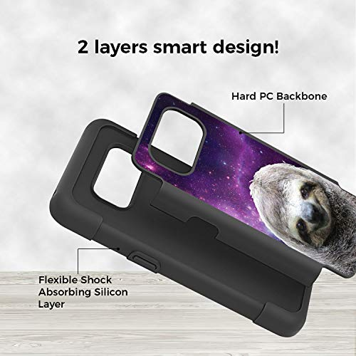 Galaxy S8 Active Case, Rossy Heavy Duty Hybrid TPU Plastic Dual Layer Armor Defender Protection Case Cover for Samsung Galaxy S8 Active,Galaxy Hipster Sloth