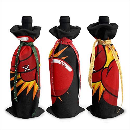 3 Stück Weihnachtliche Weinflaschen-Abdeckungen, Boxhandschuhe, Dekoration, wiederverwendbare Weinflaschen-Geschenktüten für Dinner-Party, Tischdekoration