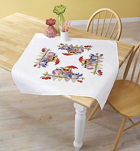 Kamaca Stickpackung EULEN Familie IM Urlaub Kreuzstich vorgezeichnet - aus 100% Baumwolle - Mitteldecke 80 x 80 - zum Selbersticken