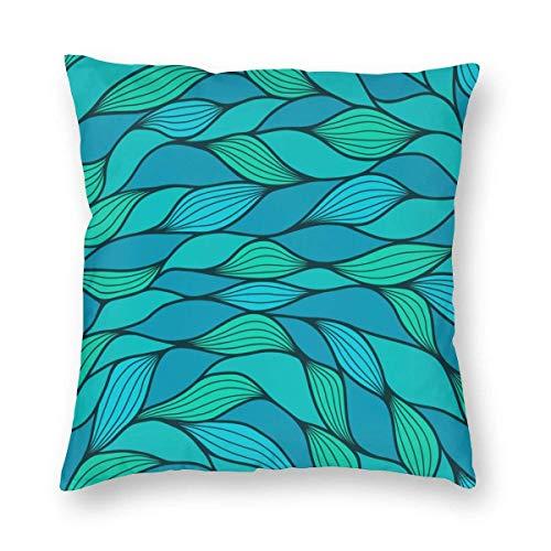 Funda de almohada impresa con diseño de dos lados, diseño de onda abstracta con estampado de patrón de vida marina con temática del océano, funda de cojín cuadrada verde menta azul para decoración del