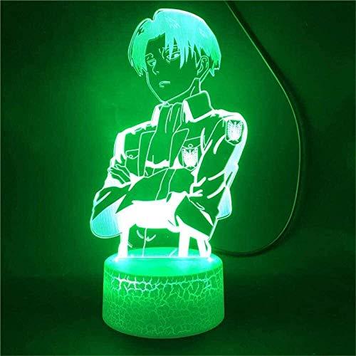 3D Optical Illusion Lampe,16Farbänderung Berühren Sie empfindliches LED-Nachtlicht des Schalters mit Acrylflachem, ABS-Unterseite, USB-Gebühr für Hauptdekor Perfekte Geschenke Captain Levi Ackerman