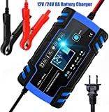HAIBRO Car Battery Charger, 12V/24V 8Amp Automatic Trickle Charger Maintainer,Smart charging with Clamps