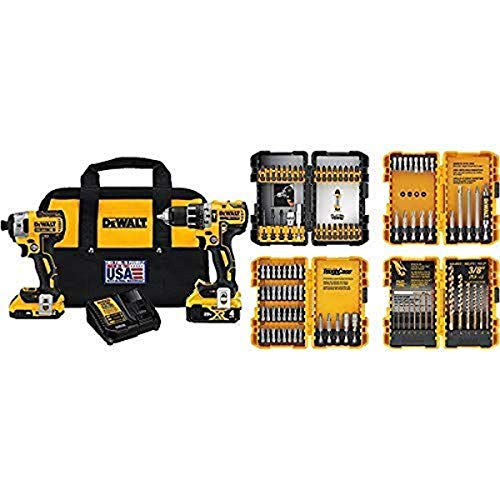 DEWALT DCK287D1M1 20V Cordless Hammerdrill and Impact Driver Combo Kit with DEWALT DWA2FTS100 Screwdriving and Drilling Set, 100 Piece