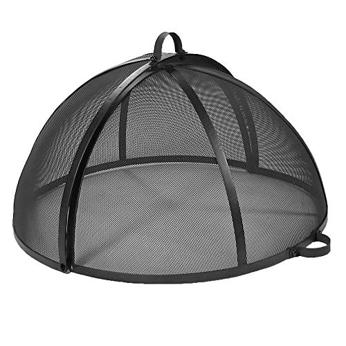 Sunnydaze Fire Pit Spark Screen Cover - Outdoor Heavy Duty Round Steel Firepit Lid - Easy Access Fire Pit Topper with Protective Metal Mesh Screen - 22 Inch