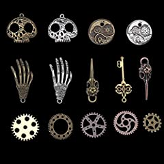 104g Assorted Antique Steampunk Gears Vintage Skeleton Charms Pendant Mixed for Necklace Bracelet Jewelry Making Accessory(Bronze and Silver Mixed Color) #1