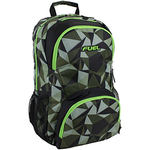 Fuel Spacious Everyday Backpack with Interior Tech Sleeve, Black/Green Geo Print