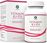 Vitamin K2 + D3 Supplement – Strong Bones, Healthy Heart & Mood Booster – 60 Servings – Easy to Swallow Vegan Capsules