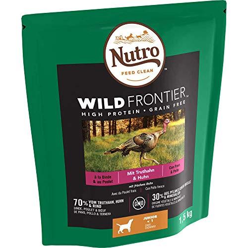 Nutro Hundefutter Trockenfutter Wild Frontier Junior <1 Reich an Truthahn & Huhn, 1 Beutel (1 x 1,5kg)