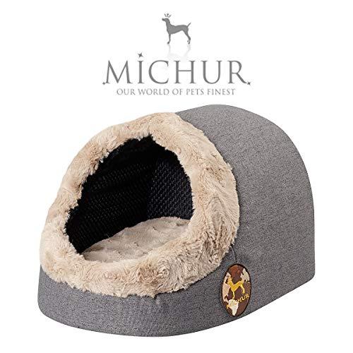 Michur Katzenhöhle & Hundehöhle Lara, waschbare Kuschelhöhle für Katzen und Hunde in edlem anthrazit, mit beidseitig anwendbarem Kissen, für kleine Hunde und Katzen, 43 x 34 x 27 cm