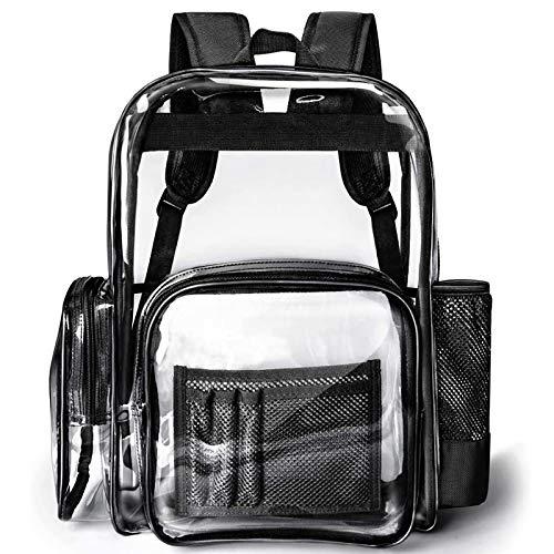 Packasso Rucksack, strapazierfähig, groß, stabil, wasserdicht, Oxford-Gewebe, geräumige Tasche für Erwachsene, Jungen, Mädchen, Sicherheit, Stadion, Schule, Arbeit, Reisen und mehr, Schwarz