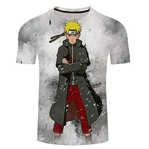 Stretch Camiseta para Hombre,Imagen de Dibujos Animados de Cuello Redondo 3D Naruto de Manga corta-Xt310_Xlarge