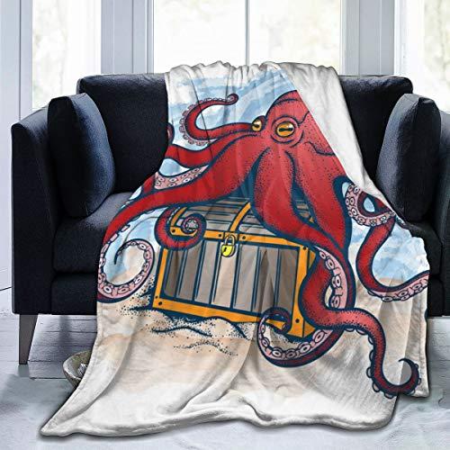 tuyi Farbe Octopus Treasure Soft Micro Fleece Decke Flanell Fleece weich und warm Plüsch Schlafsofa Couch Wohnzimmer 50
