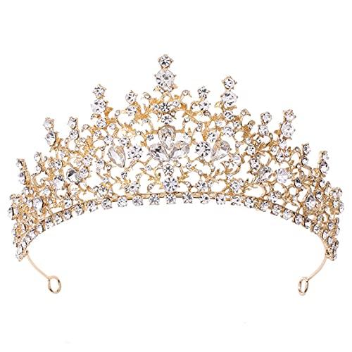Tocado de princesa Corona de novia Diadema de cumpleaños Boda Joyería para el cabello Tiara nupcial Estilo vintage Sombreros - Kc Kc Oro y diamantes blancos 19 * 7Cm
