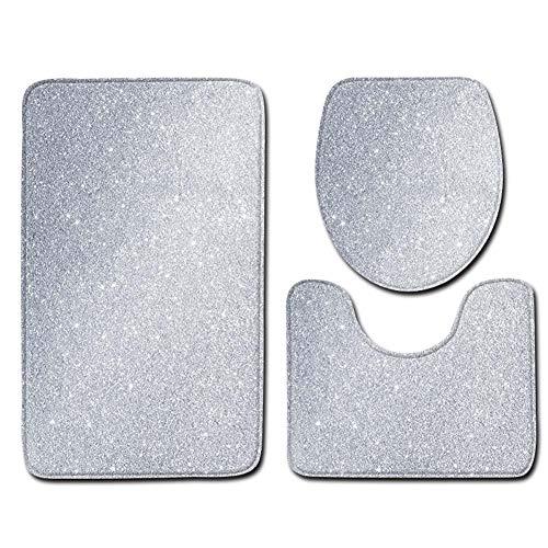 ETOPARS Luxus Funkeln Muster Badteppich Set 3-teilige rutschfeste Badezimmermatten, Toilettendeckelabdeckung, U-förmiger Kontur Teppich Teppich Weiches Badezimmerzubehör, Typ 02