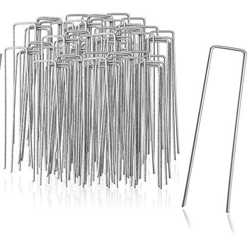 com-four Anclajes de Suelo 100x de Acero Revestido - piquetas de Suelo robustas para Sujetar vellón de Hierba y láminas - Anclajes de Suelo para jardín y Camping (100 Piezas - 150x25x2.7mm)