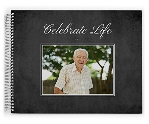 Funeral Guest Book Custom Printed with Photo, Celebrate Life, 11 x 8.5 inch, by PurpleTrail