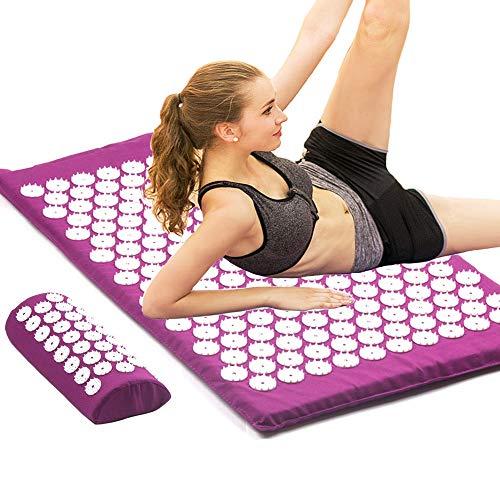 QNH Akupressur Kissen Massagematte Set Zurück Körper Fuß Schmerzen Stress Lindern Spike Massage Pad Yogamatte Mit KissenM2 Set Lila