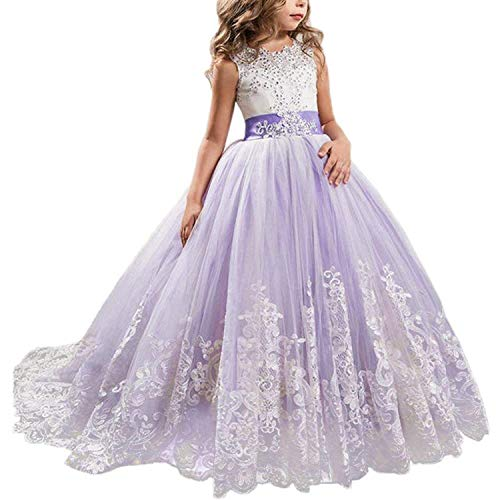 TTYAOVO Mädchen bodenlangen Spitze Prinzessin Kleid Mädchen Party Hochzeit Brautjungfer Kleid Geschichteten geschwollenen Tüll Kleider lila 8-9 Jahre