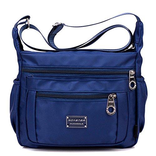Soyater Nylon Crossbody Shoulder Bag, 9 Pockets (Navy Blue)