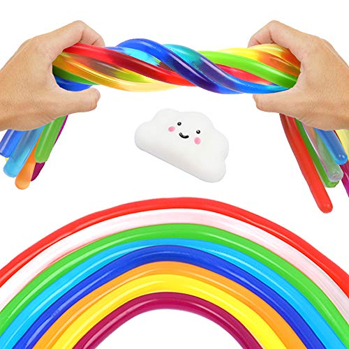 Sensory Stress Relief and Fidget Therapy Stretchy String Toys for Kids and Adults 9 Pack Strings Set with Squishy Cloud for Anti Anxiety Fidgeting and Relaxing Best for Boys and Girls with Autism