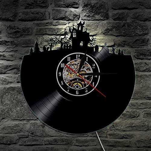 BFMBCHDJ Vintage Halloween Stadt Süßes oder Saures Atmosphäre Vinyl Schallplatte Wandkunst Uhr Friedhof Wald Home Cosplay Party Dekor Wandleuchte