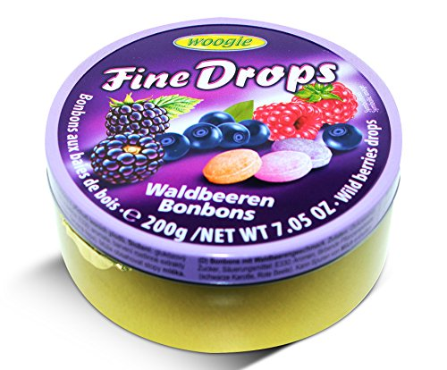 Woogie, German Fine Drops Sanded Forest Berries Candy Tin 200gr (Waldbeerengeschmack) (3 pcs)