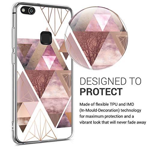 kwmobile Huawei P10 Lite Hülle - Handyhülle für Huawei P10 Lite - Handy Case in Glory Dreieck Muster Design Rosa Rosegold Weiß - 3