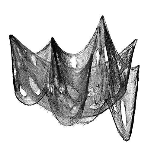 Wakauto 3 Piezas Tela Espeluznante de Halloween Tela de Gasa Espeluznante de Algodón Gris Tela Espeluznante de Halloween Decoración de Gasa de Halloween para Ventanas Porche Y Puertas