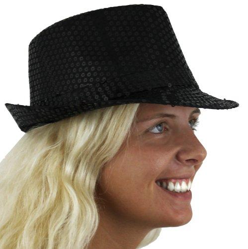 ILoveFancyDress Lot de 6 chapeaux de feutre à paillettes Unisexe - Noir