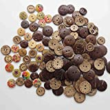 Anyasen kokosknöpfe 128 Stück Holzknopf Holzknöpfe Kokosknöpfe bunt Knöpfe Vintage