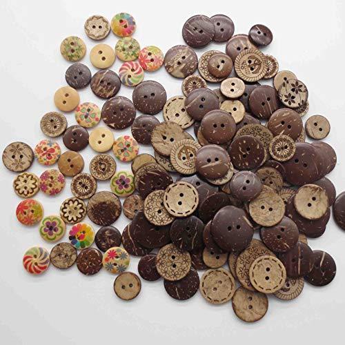 Anyasen kokosknöpfe 128 Stück Holzknopf Holzknöpfe Kokosknöpfe bunt Knöpfe vintage Holz Nähen Knöpfe für Nähen Handwerk Scrapbooking DIY Craft Tiere (Rund)