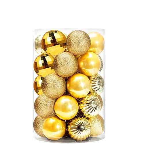 Xnuoyo - Juego De 34 Bolas Decorativas para árbol de Navidad Mini Decoración Navideña de Temporada Inastillable Decoración Navideña para Interiores y Exteriores (Dorado)
